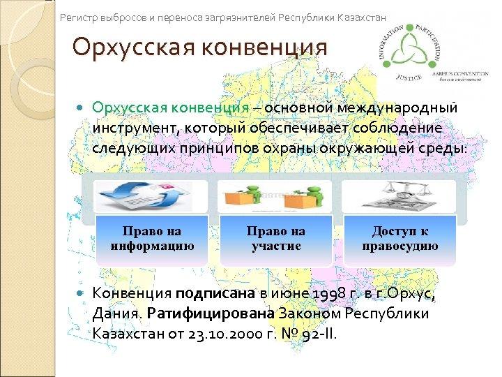 Регистр выбросов и переноса загрязнителей Республики Казахстан Орхусская конвенция – основной международный инструмент, который