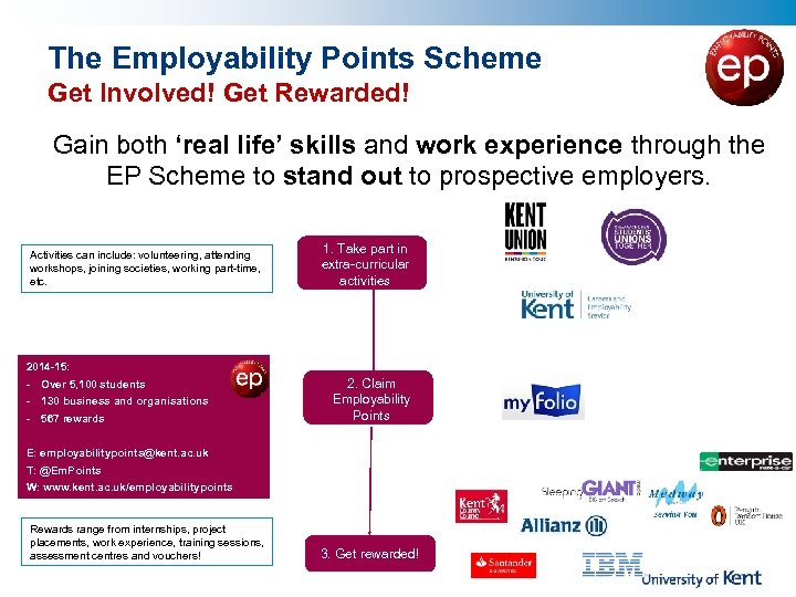 The Employability Points Scheme Get Involved! Get Rewarded! Gain both 'real life' skills and