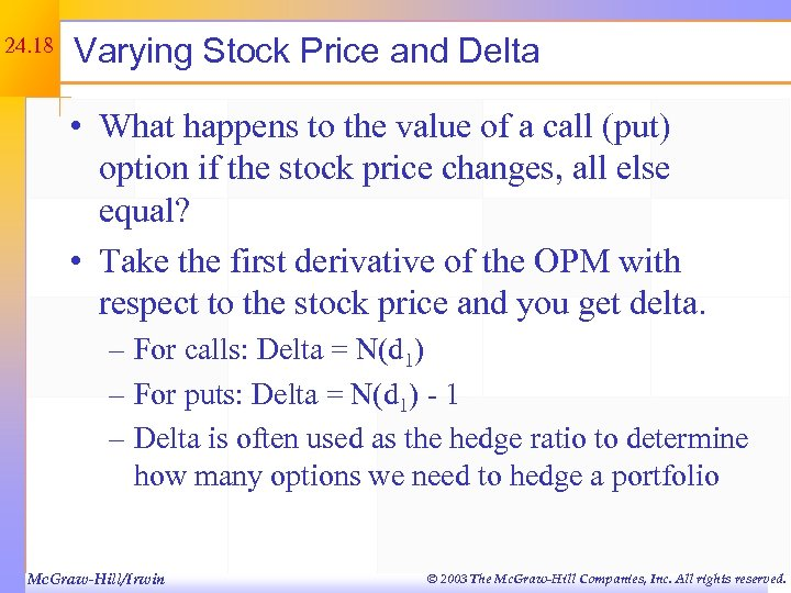 24. 18 Varying Stock Price and Delta • What happens to the value of