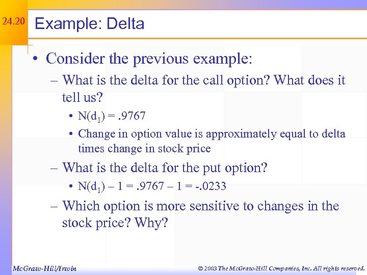 24. 20 Example: Delta • Consider the previous example: – What is the delta