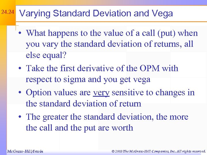 24. 24 Varying Standard Deviation and Vega • What happens to the value of