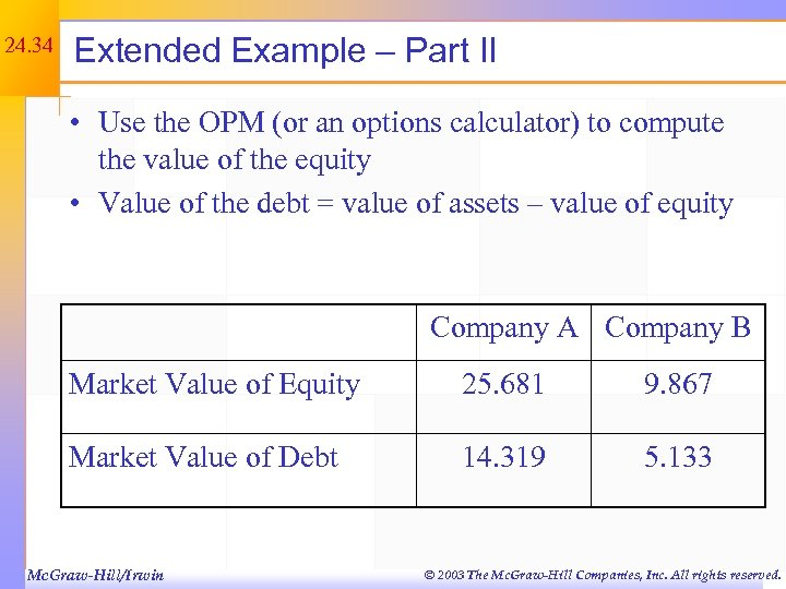 24. 34 Extended Example – Part II • Use the OPM (or an options