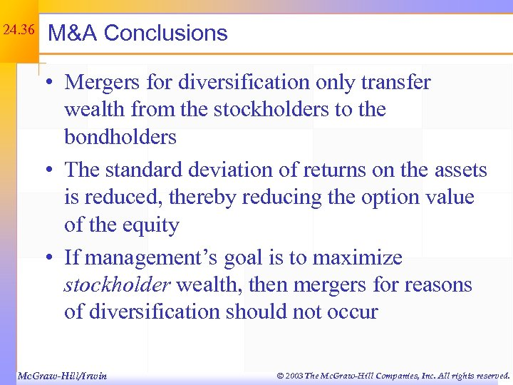 24. 36 M&A Conclusions • Mergers for diversification only transfer wealth from the stockholders