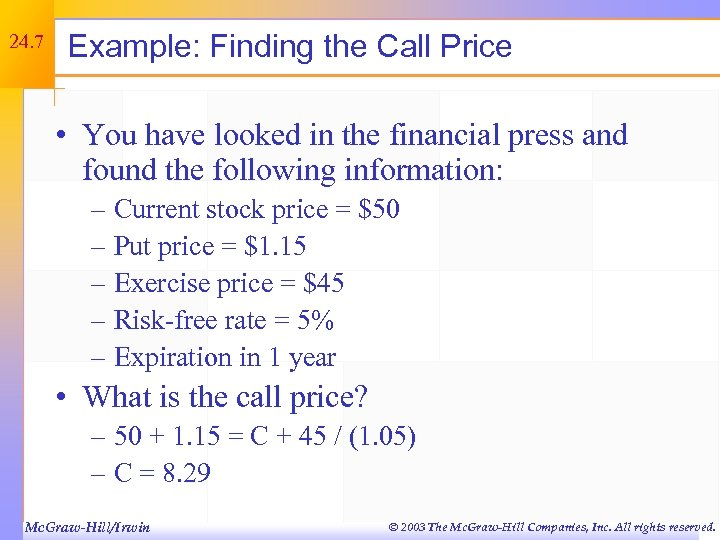 24. 7 Example: Finding the Call Price • You have looked in the financial