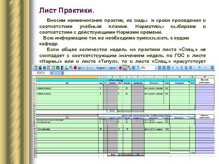 Лист Практики. Вносим наименование практик, их виды и сроки проведения в соответствии учебным планом.