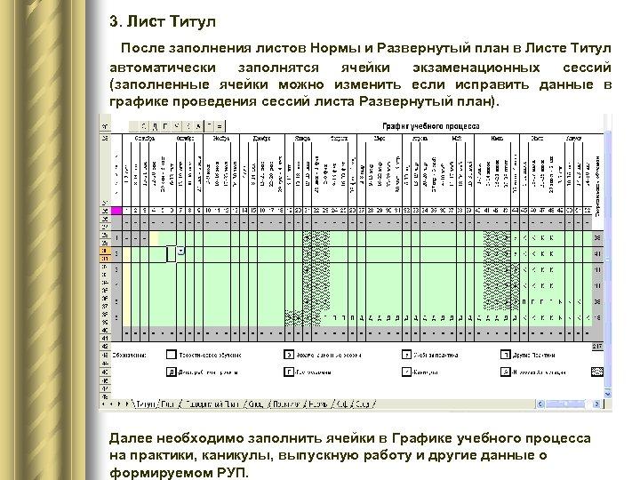 3. Лист Титул После заполнения листов Нормы и Развернутый план в Листе Титул автоматически