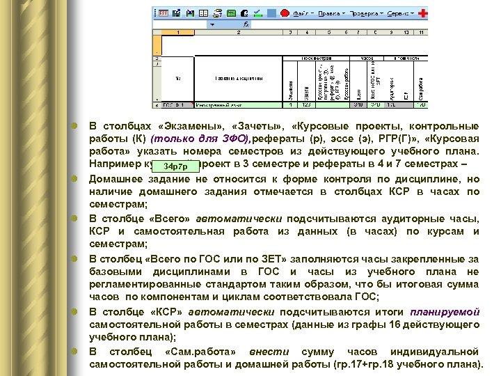 l В столбцах «Экзамены» , «Зачеты» , «Курсовые проекты, контрольные работы (К) (только для