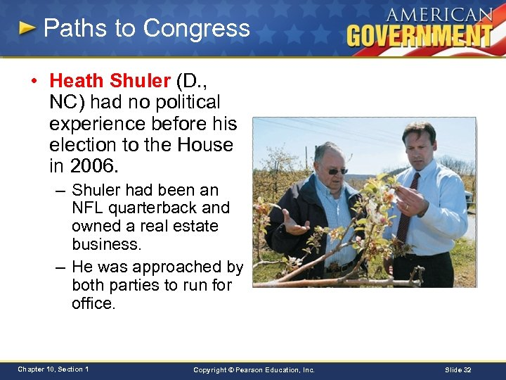 Paths to Congress • Heath Shuler (D. , NC) had no political experience before