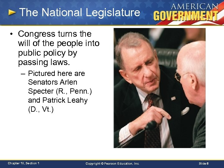 The National Legislature • Congress turns the will of the people into public policy