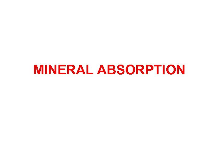 MINERAL ABSORPTION