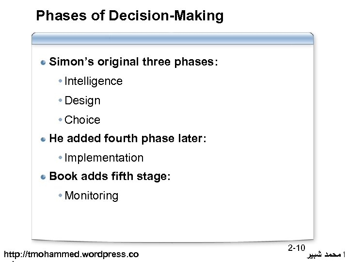 Phases of Decision-Making Simon's original three phases: Intelligence Design Choice He added fourth phase