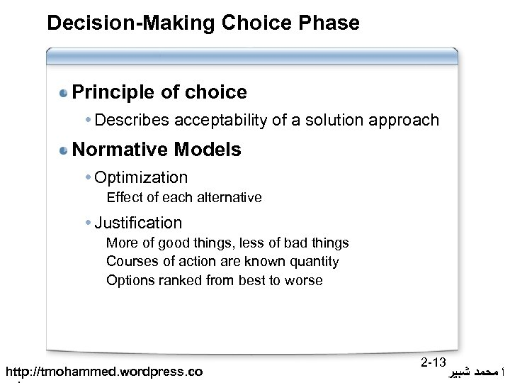 Decision-Making Choice Phase Principle of choice Describes acceptability of a solution approach Normative Models