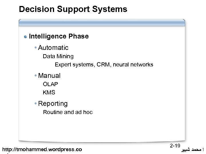 Decision Support Systems Intelligence Phase Automatic Data Mining Expert systems, CRM, neural networks Manual