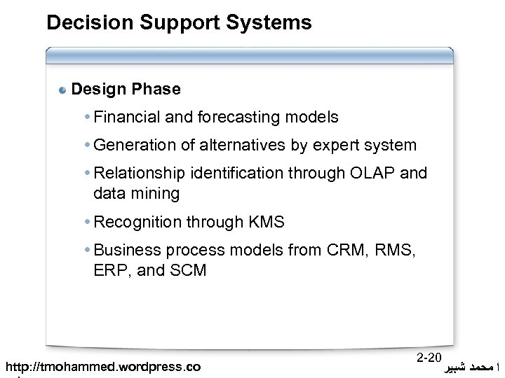Decision Support Systems Design Phase Financial and forecasting models Generation of alternatives by expert