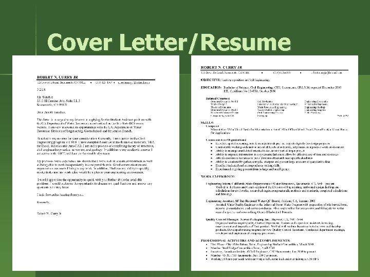 Cover Letter/Resume