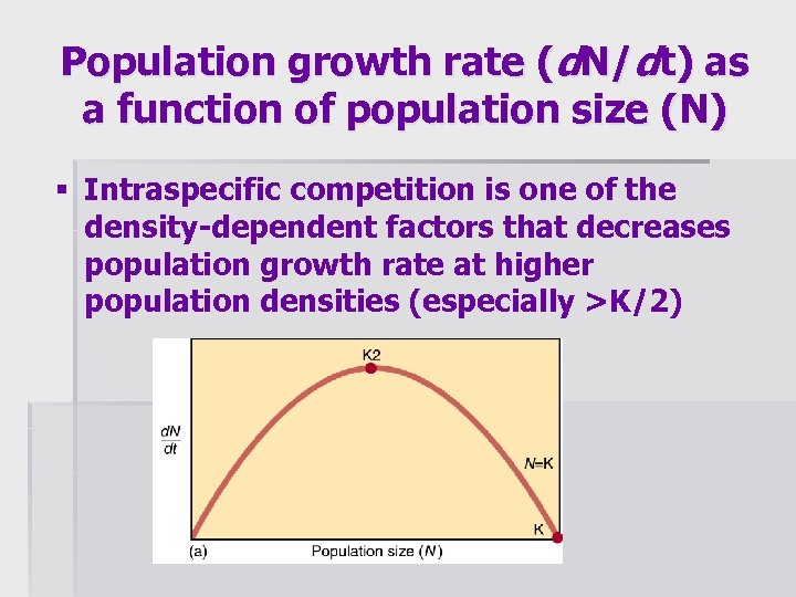 Population growth rate (d. N/dt) as a function of population size (N) § Intraspecific