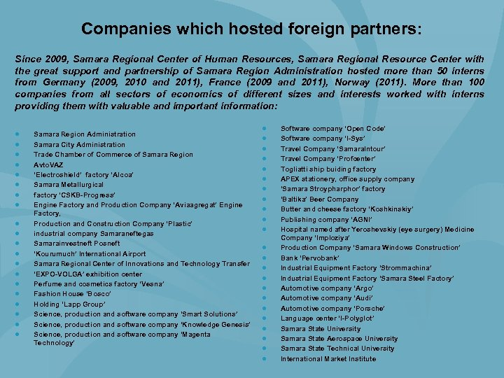 Companies which hosted foreign partners: Since 2009, Samara Regional Center of Human Resources, Samara