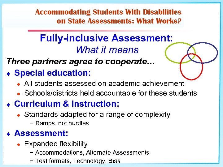 Fully-inclusive Assessment: What it means Three partners agree to cooperate… ¨ Special education: l