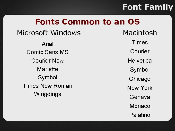 Font Family Fonts Common to an OS Microsoft Windows Macintosh Arial Comic Sans MS