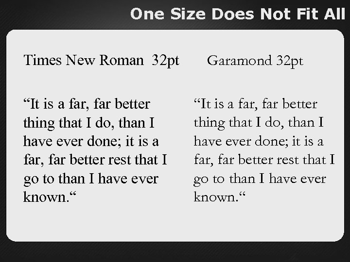 "One Size Does Not Fit All Times New Roman 32 pt ""It is a"