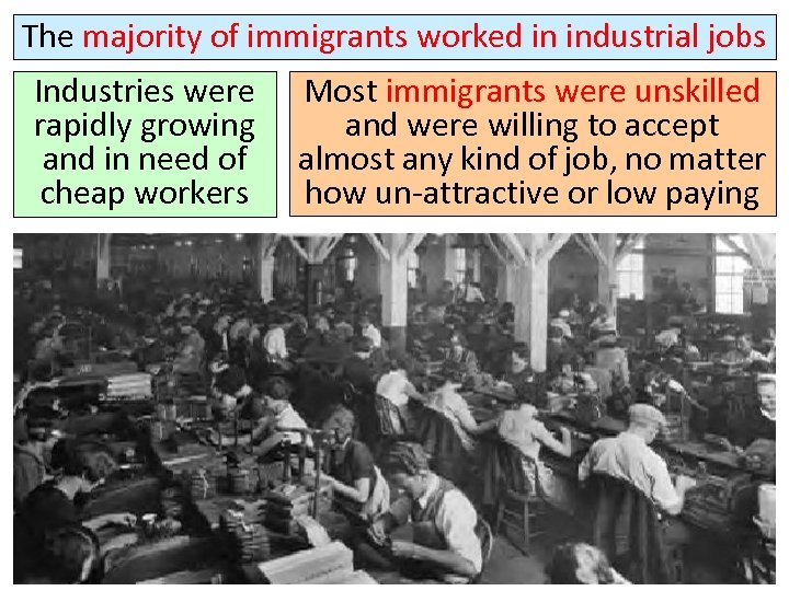 The majority of immigrants worked in industrial jobs Industries were rapidly growing and in