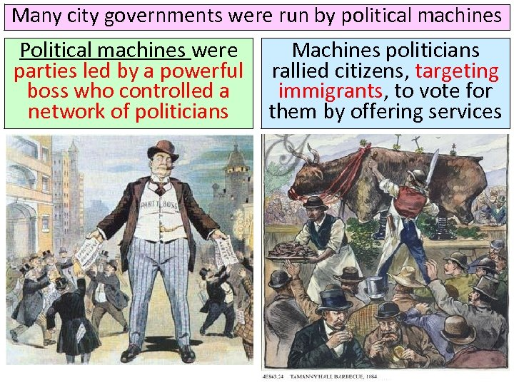 Many city governments were run by political machines Political machines were parties led by