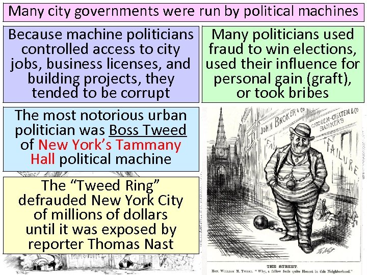 Many city governments were run by political machines Because machine politicians Many politicians used