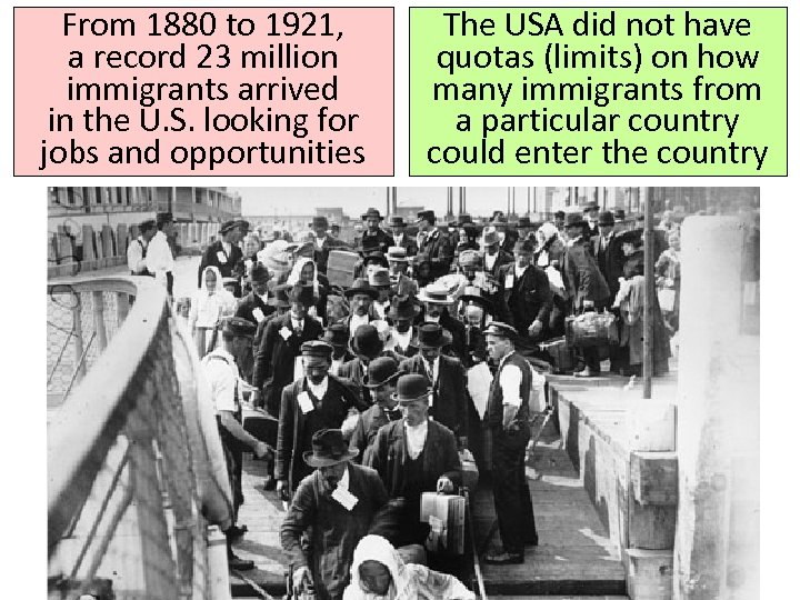 From 1880 to 1921, a record 23 million immigrants arrived in the U. S.