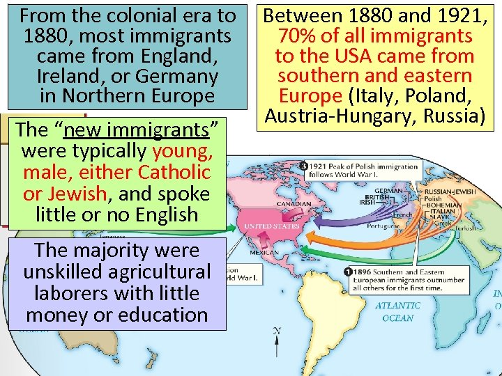 From the colonial era to 1880, most immigrants came from England, Ireland, or Germany
