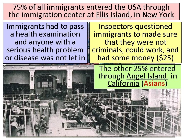 75% of all immigrants entered the USA through the immigration center at Ellis Island,