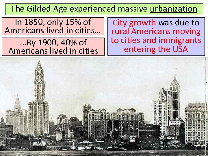 The Gilded Age experienced massive urbanization In 1850, only 15% of City growth was