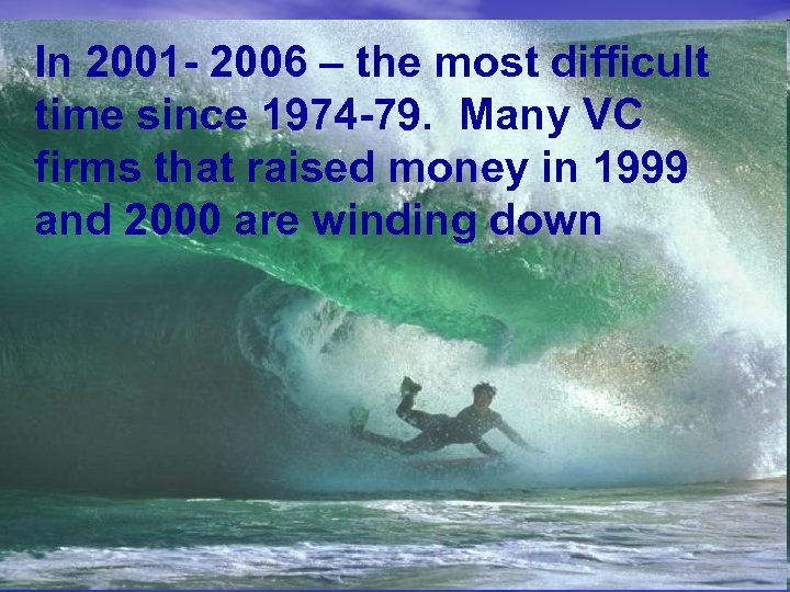 In 2001 - 2006 – the most difficult time since 1974 -79. Many VC