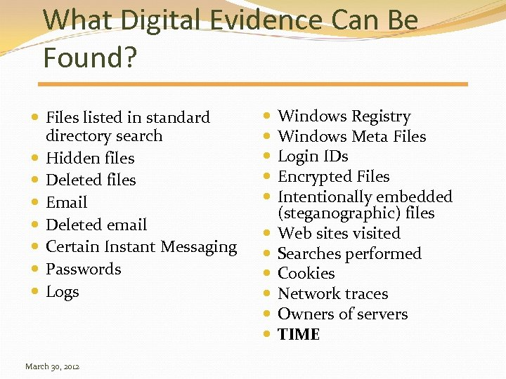 What Digital Evidence Can Be Found? Files listed in standard directory search Hidden files