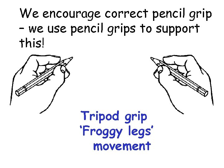 We encourage correct pencil grip – we use pencil grips to support this! Tripod