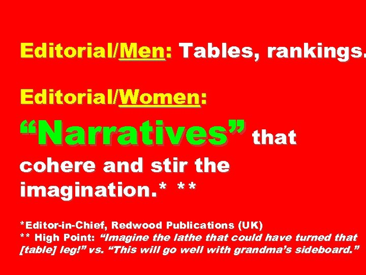"""Editorial/Men: Tables, rankings. Editorial/Women: """"Narratives"""" that cohere and stir the imagination. * ** *Editor-in-Chief,"""
