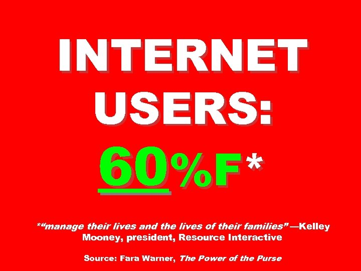 """INTERNET USERS: 60%F* *""""manage their lives and the lives of their families"""" —Kelley Mooney,"""