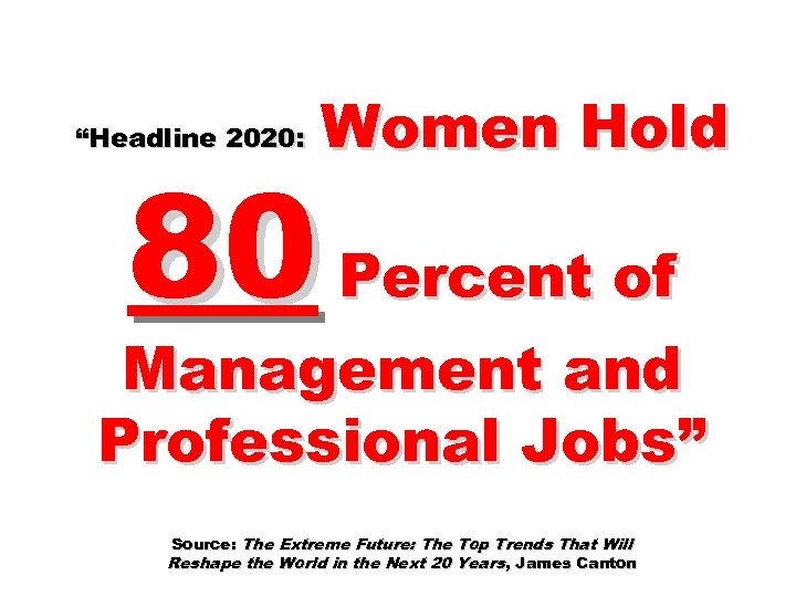 """""""Headline 2020: Women Hold 80 Percent of Management and Professional Jobs"""" Source: The Extreme"""