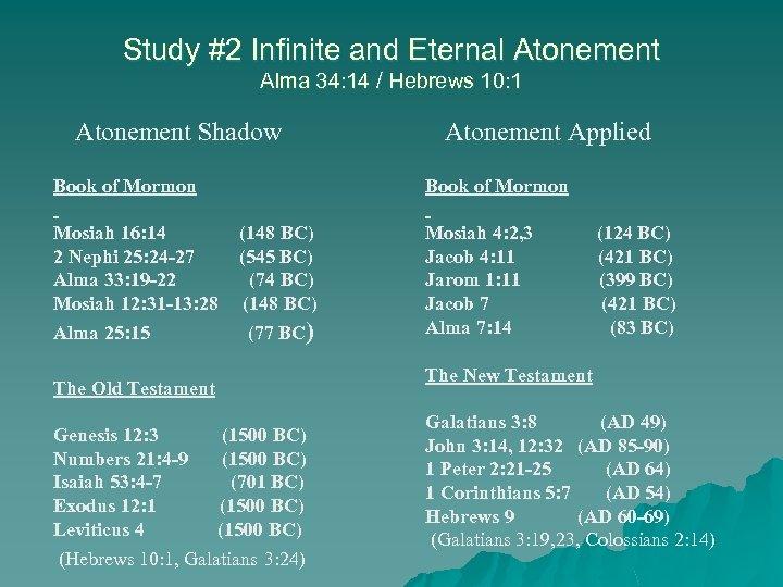 Study #2 Infinite and Eternal Atonement Alma 34: 14 / Hebrews 10: 1 Atonement