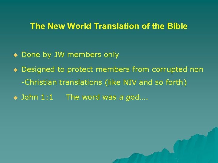 The New World Translation of the Bible u Done by JW members only u