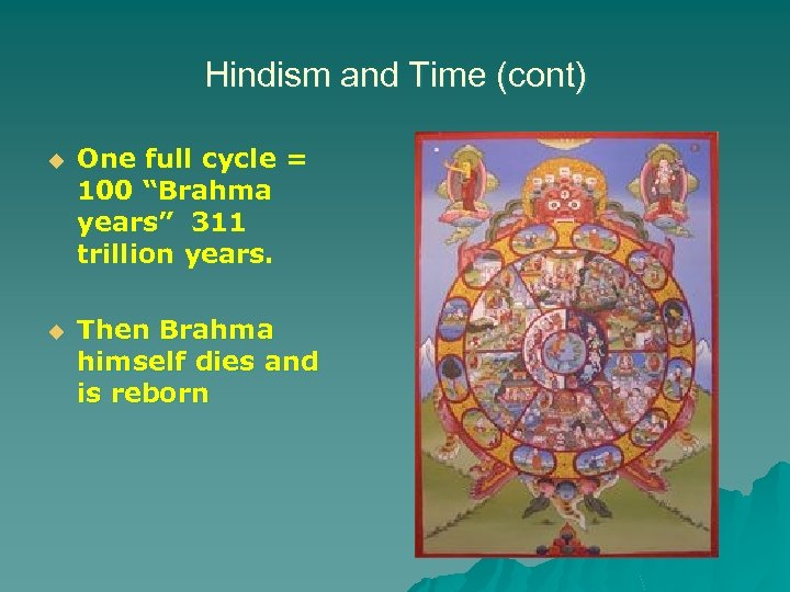"Hindism and Time (cont) u One full cycle = 100 ""Brahma years"" 311 trillion"