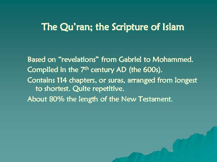 "The Qu'ran; the Scripture of Islam Based on ""revelations"" from Gabriel to Mohammed. Compiled"