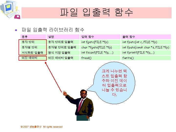 파일 입출력 함수 · 파일 입출력 라이브러리 함수 종류 설명 입력 함수 출력 함수