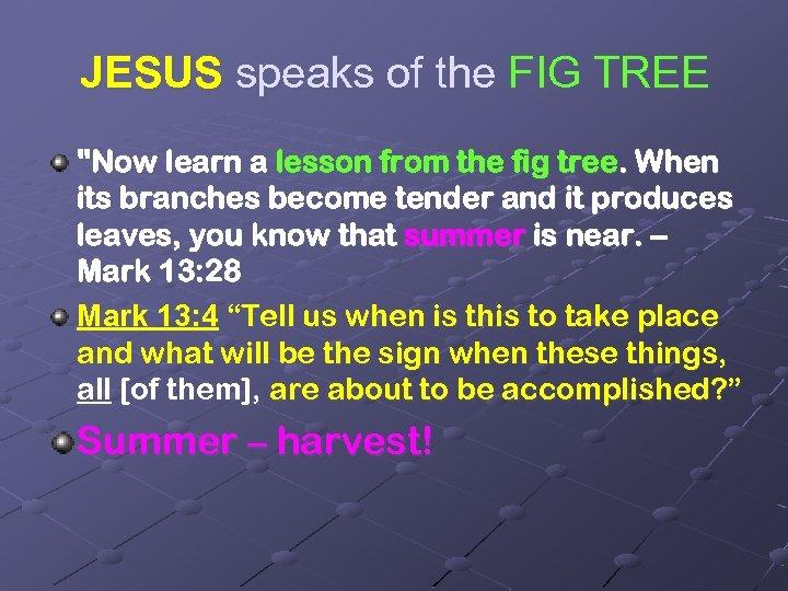 JESUS speaks of the FIG TREE