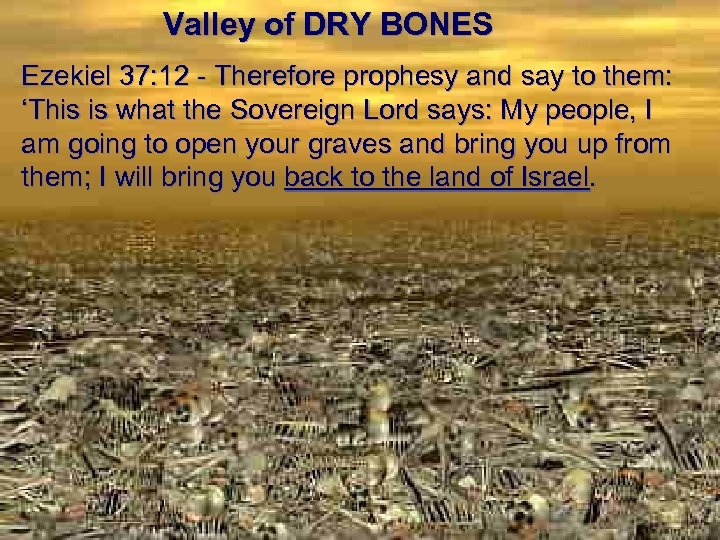 Valley of DRY BONES Ezekiel 37: 12 - Therefore prophesy and say to them: