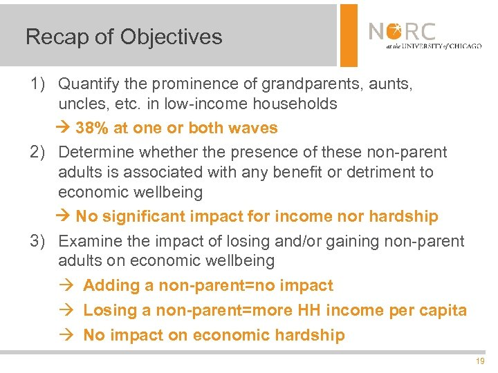 Recap of Objectives 1) Quantify the prominence of grandparents, aunts, uncles, etc. in low-income
