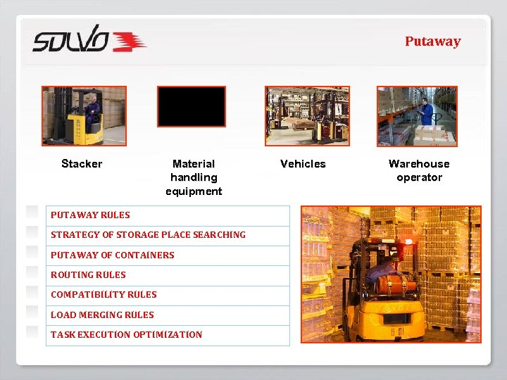 Putaway Stacker Material handling equipment PUTAWAY RULES STRATEGY OF STORAGE PLACE SEARCHING PUTAWAY OF