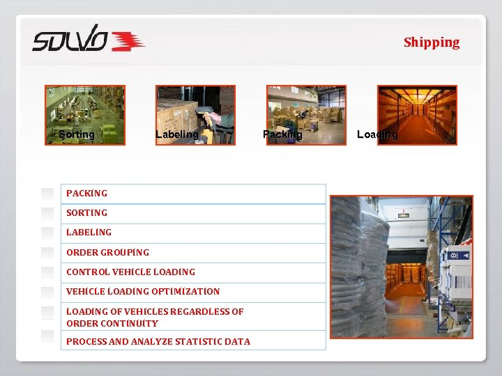 Shipping Sorting Labeling PACKING SORTING LABELING ORDER GROUPING CONTROL VEHICLE LOADING OPTIMIZATION LOADING OF