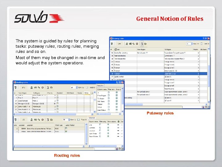 General Notion of Rules The system is guided by rules for planning tasks: putaway