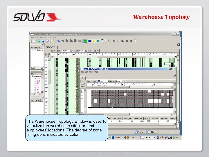 Warehouse Topology The Warehouse Topology window is used to visualize the warehouse situation and