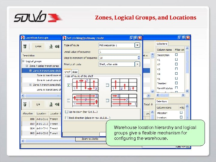 Zones, Logical Groups, and Locations Warehouse location hierarchy and logical groups give a flexible